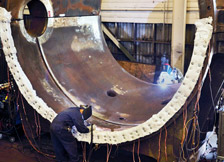 Welding on a Large Butterfly Valve in Alameda